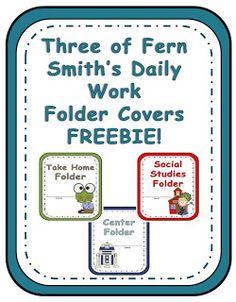 FREEBIE ~ Three of Fern Smith's Elementary Daily Folders Covers as seen on Third Grade Troop  www.thirdgradetroop.com