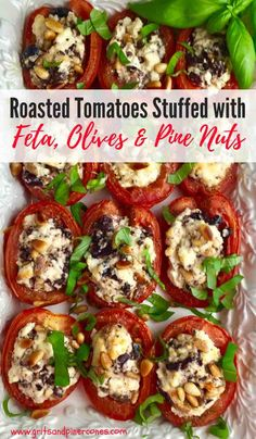 Oven Roasted Tomatoes stuffed with Feta Cheese Olives and Pine Nuts is a simple side dish recipe which is both delicious and healthy. Not only is it colorful but it goes well with any entree and will elevate your meal to gourmet status. Try it today! Quick Side Dishes, Side Dish Recipes, Yummy Healthy Side Dishes, Oven Dishes Recipes, Pasta Recipes, Lamb Side Dishes, Tomato Side Dishes, Summer Side Dishes, Healthy Sides