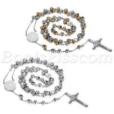 Men's Womens Stainless Steel Rosary Pray Bead Jesus Cross Pendant Necklace Chain #Unbranded #Pendant