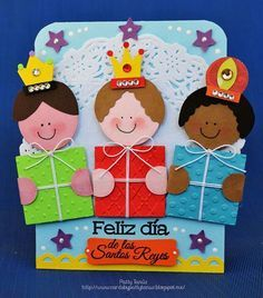 Three Kings Day Cards by Patty Tanúz. Christmas Door Decorations, Christmas Crafts For Kids, Christmas Activities, Christmas Time, Christmas Cards, Christmas Ornaments, Holiday, Diy And Crafts, Paper Crafts