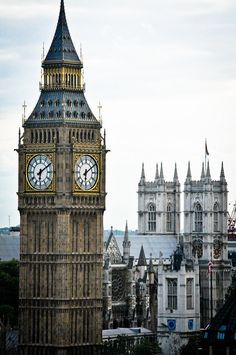Big Ben (which is the clock) the clock tower and Westminster Abbey - London, England. It is easy to see these and the Westminster Bridge altogether.