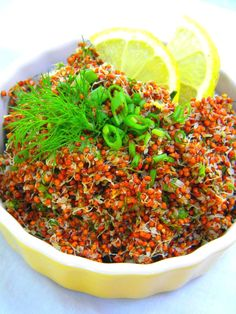 #Raw #Vegan / #GlutenFree #Sprouting Red #Quinoa & Nutty Quinoa #Salad with #Lemon and Herbs