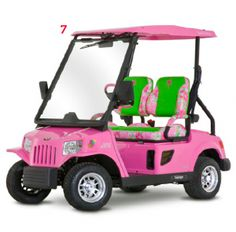 Who needs a sleigh when you have this flashy golf cart?!