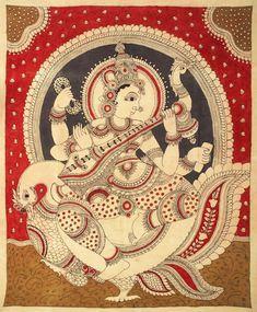 Goddess Saraswati, Folk Art Kalamkari Painting on CottonArtist - M. Saree Painting, Kalamkari Painting, Madhubani Painting, Fabric Painting, Saraswati Painting, Kalamkari Designs, Saraswati Goddess, Mandala Art Lesson, Madhubani Art