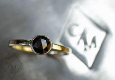 Rose Cut Black Diamond Engagement Ring  Black by ChincharMaloney, $450.00