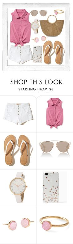 """""""Untitled #168"""" by karissaelliott ❤ liked on Polyvore featuring Polaroid, Hollister Co., Old Navy, Christian Dior, Kate Spade, Pernille Corydon, Summer, Pink, beach and katespade"""