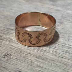 Vintage 14K yellow gold cigar band by VictoriaVVintage on Etsy