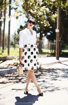 Polka Dot Love, High Waist Skirt & White Button Down Shirt, Via: HallieDaily