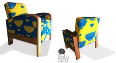 SILLA CUBISTA RESTAURADA, MADERA AL NATURAL UMBREX CÓDIGO DE COLOR 049/050 #architecture #arquitectura #casa #colour #color #couleurs #design #diseño #decoración #decoration #färg #fabric #fabrics #furniture #hem #home #inredning #interiordesign #möbler #patrones #patterns #telas #tyger #tissus #textiles