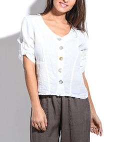 Loving this White Roll-Tab Button-Up Linen Top on #zulily! #zulilyfinds