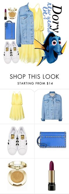 """""""Dory New Year's Eve outfit"""" by ohmydisney-xo ❤ liked on Polyvore featuring WithChic, adidas Originals, Valentino, Milani, Lancôme and disneybound"""