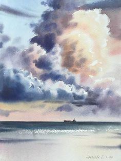 Watercolor Clouds, Watercolor Landscape Paintings, Sky Painting, Watercolor Artwork, Seascape Paintings, Watercolour, Watercolor Projects, Aesthetic Painting, Impressionism Art