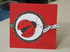 Love the lady bug Kids Birthday Cards, Handmade Birthday Cards, Ladybug Crafts, Marianne Design, Animal Cards, Paper Cards, Cool Cards, Creative Cards, Kids Cards