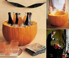 Halloween Craft: Pumpkin Party Cooler (Could use as a punch bowl, too.) Put bowl in pumpkin before putting in punch or ice. Fröhliches Halloween, Adornos Halloween, Holidays Halloween, Halloween Treats, Halloween Parties, Halloween Drinks, Halloween Clothes, Halloween Punch, Halloween Entertaining