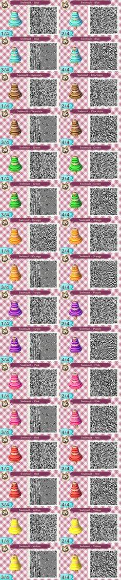 AC:NL - Multi-Coloured Swimsuits QR Codes by TofaTheDragonRider on deviantART