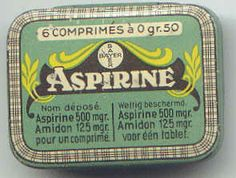 Bayer Aspirin 1899 Until recently a dozen or so aspirin came in a small rectangular tin, where you pressed an indentation on one of the sides to open