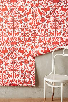 Folkloric Forest Wallpaper - anthropologie.com (W-for a small room -- laundry room, powder room, pantry)
