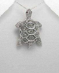 Marcasite Large Turtle Pendant Necklace Sterling Silver