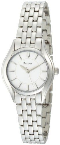 Women's Wrist Watches - Bulova Womens 96L132 Silver White Dial Bracelet Watch -- Click on the image for additional details. (This is an Amazon affiliate link)