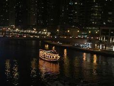 A glittering Dhow (Dhow dinner cruise) in the Dubai Marina, Dubai... Venture & Roam