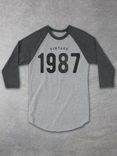 30th Birthda Gift Ideas | Vintage 1987 Baseball Tee –raglan shirts - Men & Women - Unisex Tee Hello Floyd