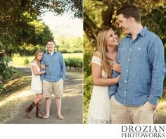 Love the way this couple looks at each other! Her embroidered boots and dress look so cute together!