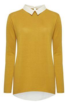 Primark - Mustard Woven Shirt Collar Jumper