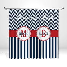 Personalized Chevron Shower Curtain by ItsPerfectlyPosh on Etsy