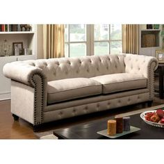 Darby Home Co Fawcett Traditional Sofa Upholstery: Ivory Cream Furniture, Sofa Upholstery, Sofa, Dining Room Combo, Sofa Set, Tufted Sofa, Furniture Of America, Elegant Sofa, Fabric Sofa