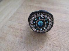 Black adjustable-hand made ring-colorful by carmeldishon on Etsy