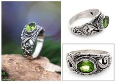 Sterling Silver and Peridot Ring - Feminine Charm | NOVICA