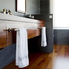Timber and charcoal Bathroom, add floors in concrete to finish off the look