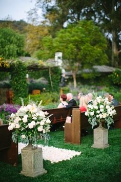 Aisle style. Photography: Lisa Rigby Photography - lisarigbyphotography.com, Floral Design: Cody Floral Design - codyfloral.com  Read More: http://www.stylemepretty.com/california-weddings/2014/05/28/romantic-san-ysidro-ranch-wedding/