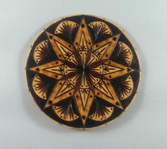 Mandala Magnet Pyrography Art Sacred Geometry Wood Burned Magnet Wood Magnet Mandala Art (25.00 USD) by BurntBirch