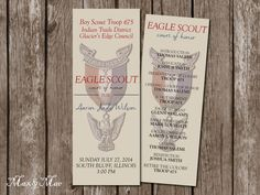 Eagle Scout Program Court of Honor by MaxandMaeInvites on Etsy