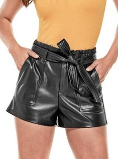 538fa90aef9 Siena High-Rise Faux-Leather Shorts at Guess