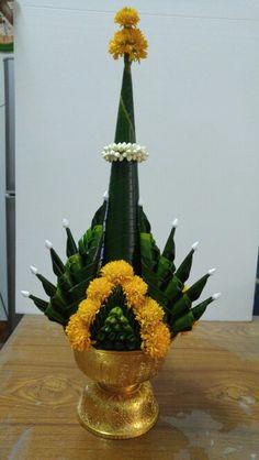พานบายศรี Indian Wedding Decorations, Flower Decorations, Flower Rangoli, Festival Decorations, Ikebana, Fresh Flowers, Event Decor, Plant Hanger, Floral Arrangements