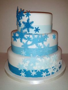 #weddingcake #frozen #snowflakes #blueombre -www.lindascreationscustomcakes.com Blue Ombre, Snowflakes, Wedding Cakes, Frozen, Tableware, Desserts, Food, Wedding Gown Cakes, Tailgate Desserts