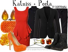"""Click through for [currently] 13 tags """"Hunger Games"""" on the DisneyBound fashion blog. Mostly, but not entirely, inspired by Katniss and Peeta."""