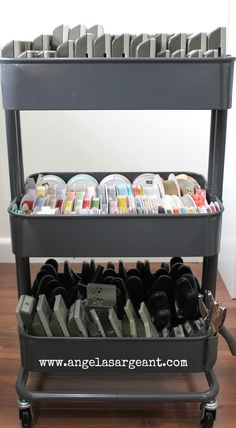 Ikea Ribbon and Punch Storage.  A review of the Ikea Raskog Trolley for craft storage.