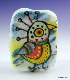 """Bird of Paradise"" Bykayo A Colorful Handmade Lampwork Art Glass Focal Bead SRA | eBay"