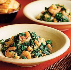 shrimp, chickpeas