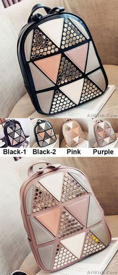 Unique Girl's PU Splicing Leisure Rivet School Backpack Triangles Sequins Backpacks for big sale! #leisure #backpack #Bag #rivet #school