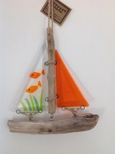 Fused glass and driftwood boat - 'Fish'