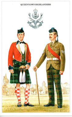 GBP - Postcard The British Army Series Queen's Own Highlanders By Geoff White British Army Uniform, British Uniforms, Military Cards, Soldier Costume, Drum Major, Crimean War, British Armed Forces, Royal Guard, Highlanders