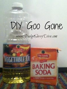 DIY Goo Gone  It's like magic in a jar!! (Or in my case a Glad Tupperware!!) The recipe is one part vegetable oil for every two parts of baking soda, all you do is stir together and start removing the junk!  Don't have too much fun now!
