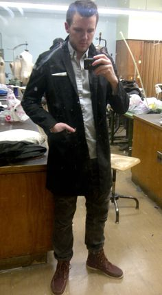 """A nice """"chance of light rain"""" outfit. Unlined topcoat, hightopsiders, very subtle camo. -SB"""