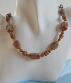 Autumn Jasper and Golden Glass Necklace by ShadowoftheCross