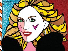 "Romero Britto's ""Madonna"" 2008, 36"" x 48"" Acrylic on Canvas. Learn more about Romero Britto and Florida (The Sunshine State) at: www.floridanest.com"