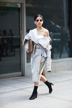New York Fashion Week Street Style Gray One-Shoulder Dress